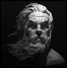 Greek Mythology Tattoos, Greek And Roman Mythology, Greek Statues, Angel Statues, Tattoo Sketch Art, Poseidon Statue, Statue Tattoo, Black Cat Art, Cemetery Art
