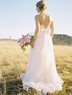 pink wedding dress by Watters #weddingdress #watters #weddingchicks http://www.weddingchicks.com/2014/02/14/dinner-for-two-wedding-ideas/