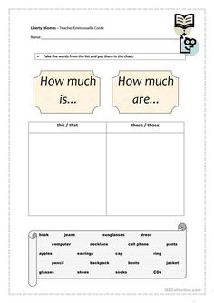 """""""How much is...?"""" and """"How much are...?"""" - Prices worksheet - Free ESL printable worksheets made by teachers"""