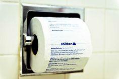 « Shitter » est un nouveau service qui vous permet de transformer votre flux Twitter en rouleau de papier toilette ! Il vous suffit de vous connecter au site, et vous pourrez commander des rouleaux de papier toilette avec toute votre timeline imprimée dessus, soit à l'unité (9$), soit par 4 (35$). Utile ou pas, il faut avouer que l'idée est assez drôle !