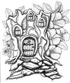 Big Kids Coloring Book: Fairy Houses and Fairy Doors, Volume Two: Images on Single-sided Pages for Wet Media – Markers and Paints (Big Kids Coloring Books) House Colouring Pages, Fairy Coloring Pages, Printable Coloring Pages, Adult Coloring Pages, Coloring Books, Fairy Drawings, Fairy Doors, Coloring For Kids, Illustrations