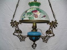 RARE Antique Oil Parlor Hanging Lamp Chandelier Hand Paint Floral R Ditmar Wein | eBay
