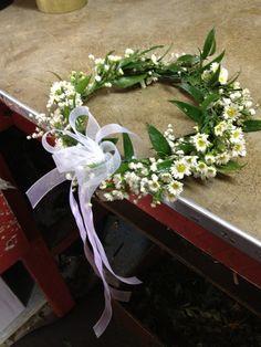 Flower Head Wreath for First Communion | Wianek Komunijne ze swiezych kwiatow