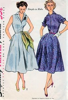 1950s STYLISH Easy To Make Dress Pattern SIMPLICITY 3876 Two Style Versions Bust 32 Vintage Sewing Pattern