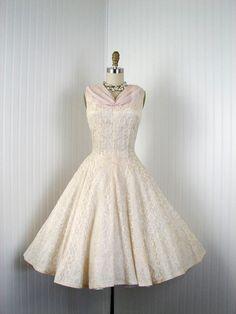 R E S E R V E D 1950s Dress - Vintage 50s Dress - Ivory Lace Pink Chiffon Princess Garden Wedding M L - La Luna. $268.00, via Etsy.