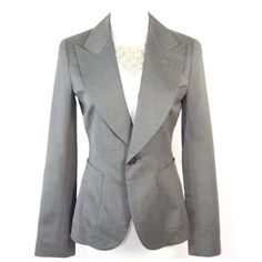"Alvin Valley Gray Career Jacket Small 6 36 $650 Alvin Valley Gray  Jacket  Size 36 Small 6  Retail $650  Alvin Valley is a line carried in high end boutiques and department stores throughout the world.     Perfect career jacket.  Great for a day in the office or an evening out.  Charcoal gray color.  Single button closure.  2 front pockets.  Fully lined.  47% wool, 51% viscose & 2% lycra.  Alvin Valley is known for their flawless fit.      Armpit to armpit 36""  Shoulder to shoulder 19.5""…"