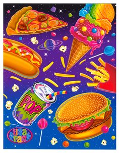 Lisa Frank – Day of the Artist Pink Lady, Lisa Frank Unicorn, Art Kawaii, Lisa Frank Stickers, Pin Up, Cool Desktop, 90s Kids, Junk Food, Food Art