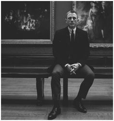 Daniel Craig as James Bond in a still from Skyfall, drained of color.