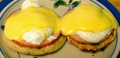 Eggs Benedict from Sunday Recipes for Two. Wow - first time I have ever eaten Eggs Benedict and they are sooo good - March 2014. Heat the sauce slowly or it will curdle - April 2014.