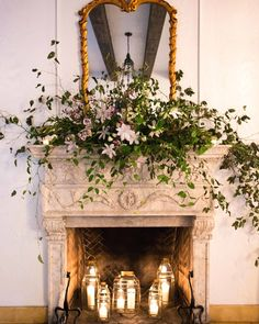 Anthology Co. created a floral arrangement for the fireplace inside of the villa. Clematis, fox glove, and trailing vines took center stage. Church Wedding Flowers, Flower Bouquet Wedding, Floral Wedding, Wedding Knot, Flower Bouquets, Florida Wedding Venues, Miami Wedding, Wedding Receptions, Spring Wedding