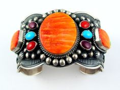 Awesome Spiny Oyster bracelet by Darrel Cadman, Navajo. *now this one unique work of art* Navajo Jewelry, Southwest Jewelry, Ethnic Jewelry, Indian Jewelry, Boho Jewelry, Gemstone Jewelry, Jewelery, Fashion Jewelry, Shell Jewelry