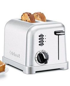 Breakfasts are made easier with this state of the art Cuisinart toaster, 2-Slice in classic brushed chrome. High-tech toasting technology with style factor to boot. Features include: 6-setting browning dial + reheat, defrost and bagel buttons.