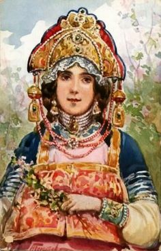 """Russian costume in painting. Nikolay A. Bogatov. From the series """"Russian Clothes and Headdresses of the 17th Century"""". Late 19 - early 20 centuries. #art #painting #Russian #costume"""
