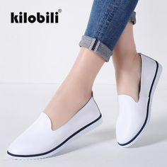 kilobili Women Ballet Flats Shoes Genuine Leather Slip on ladies Shallow Moccasins Casual Shoes Female Summer Loafer Shoes Women Price: & Flat Rate Shipping Leather Flats, Leather Slip Ons, Casual Loafers, Casual Shoes, Men With Street Style, Mocassins, Luxury Shoes, Types Of Shoes, Loafer Shoes