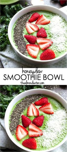 Honeydew and coconut combine to create this creamy & dairy free smoothie bowl! | #honeydew | thealmondeater.com