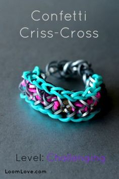 Rainbow loom tutorial - confetti criss cross bracelet