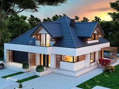 Two Bedroom House Design, Pastel Background Wallpapers, Small Villa, Modern Exterior House Designs, Architectural House Plans, Mediterranean Homes, Facade House, Bungalow, Sweet Home