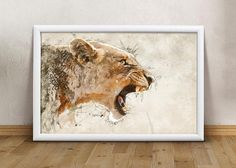 Super Animal Lioness Printable art Print Wall art print Modern