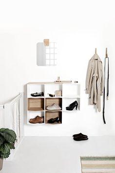 my scandinavian home: Making An Entrance: 10 Beautiful Scandinavian Inspired White and Wood Hallway Solutions Minimalist Home, Minimalist Design, Wall Shelves, Shelving, Cosy Home, Turbulence Deco, Interior And Exterior, Interior Design, Entry Hallway