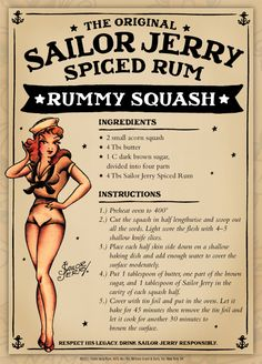 The original Sailor Jerry spiced rum is blended with the finest rums from the Caribbean & our recipe of natural spices. Visit Sailor Jerry to learn more. Sailor Jerry Rum, Rum Recipes, Cooking Recipes, Vegetable Dishes, Vegetable Recipes, Atkins, Bolo Cake, Spiced Rum, Drink Recipes