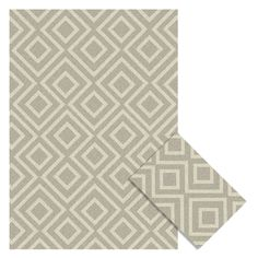 Bristol 2-Piece Outdoor Rug Set (5' x 7' & 2' x 3'), Silver/Ivory | At Home