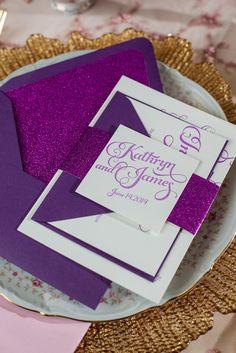 KATHRYN Suite Glitter Package, girly, pink, purple, fuchsia wedding invitations, Radiant Orchid, Pantone color of the year, letterpress wedding invitations, feminine invitations