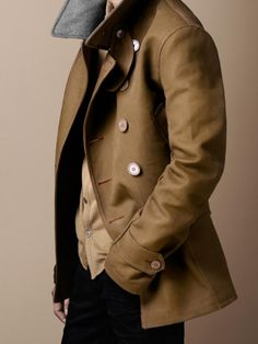 Burberry Brit Natural Bonded Canvas Pea Coat for men Fashion Mode, Look Fashion, Mens Fashion, Looks Style, Looks Cool, My Style, Sharp Dressed Man, Well Dressed Men, Estilo Cool