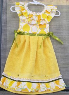 Lemon Yellow Hanging Kitchen Towel  Hand Towel or by WoopsaDaisies