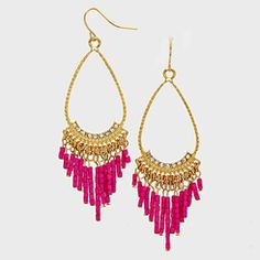 "Boho Chic 2"" Long Pink Teardrop Tassel Dangle Earrings"