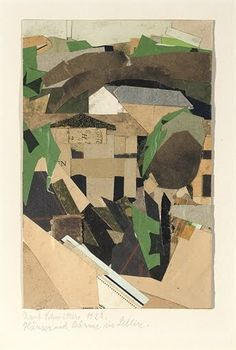 Kurt Schwitters | Houses and trees in Sellin | Collage Card, paper and wood collage18.7 x 12.3 cm | 1923 | (Via Christies)