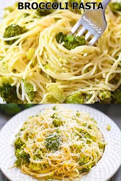 Broccoli Pasta - As simple as this meal is to make, you can easily put it together on a busy weeknight. Most of the ingredients are probably in your refrigerator or pantry, making this dish even Spaghetti Dinner, Spaghetti Recipes, Pasta Spaghetti, Greek Spaghetti, Summer Spaghetti, Easy Healthy Recipes, Vegetarian Recipes, Easy Meals, Cooking Recipes