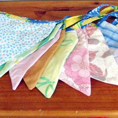 Flag garland fabric recycled materials 18ft by MartisanneHandmade, £17.00