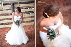 Bridal portrait at a dairy farm! Love the tulip bouquet.