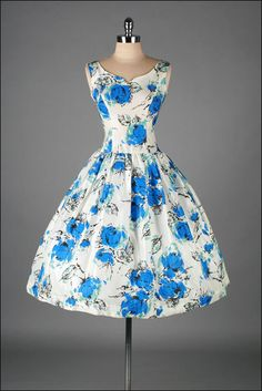 b4979ec74e8 Vintage 1950s Dress . White Taffeta . Cobalt Blue Floral . 3213
