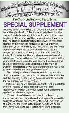 The Ankh-Morpork Times. The Truth shall give ye fleas. Extra. SPECIAL SUPPLEMENT.  by David Green 23 Feb 2016