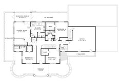 Second Floor Plan of Plantation   Southern   House Plan 61376