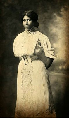 Portrait of a young African American woman identified as Mrs. Will Richardson. Photographed circa 1907 in Junction City, Kansas.