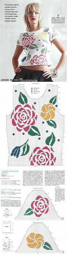 Розы - жаккард спицами (подборка) [] #<br/> # #Crochet #Tops,<br/> # #Knit #Crochet,<br/> # #Knitting #Patterns,<br/> # #Stitch #Patterns,<br/> # #Knit #Sweaters,<br/> # #Fair #Isles<br/>