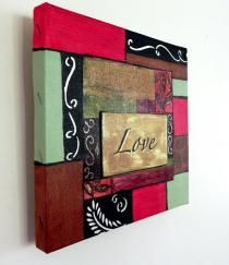 Canvas Painting Ideas | decoupage painting on canvas Decoupage Painting by Muriel Dolemieux