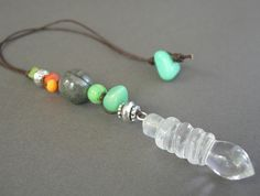 Natural Clear Quartz Pendulum, Tourmaline, Green Chrysoprase, Wood and Brown Leather, Stone Gemstone, Divining Dowsing, Metaphysical Tool by MariposaStoneWorks, $27, click now to purchase, use code PIN10 for 10% off, just in time for the holidays!!