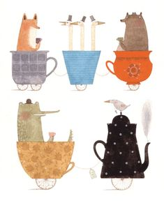 Animals on a teacup train ChristinePym (@Kelly Light I can see a print of this at Hot Dog in the kitchen!)