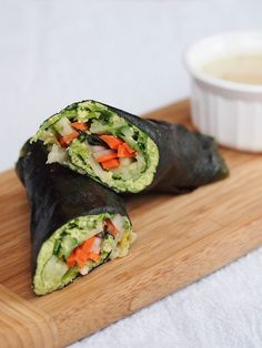 Edamame Nori Rolls w/Tahini Dipping Sauce - I've never made sushi rolls but these look surprisingly easy.