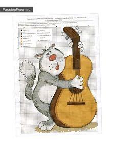 Mais uma vez, os gatos ... / Cross Stitch / diagramas PassionForum - masterclasses em bordado Cross Stitch Music, Cross Stitch For Kids, Cross Stitch Animals, Cross Stitching, Cross Stitch Embroidery, Cross Stitch Designs, Cross Stitch Patterns, Cat Crafts, Needlework