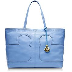 Tory Burch Amalie Simple Tote ($333) ❤ liked on Polyvore featuring bags, handbags, tote bags, purses, blue bags, rain, blue leather tote bag, handbags totes, pebbled leather tote and leather tote handbags
