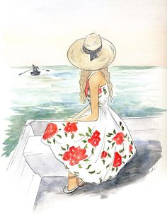 Discover thousands of images about Sea Fashion Illustration Sketches, Illustrations, Cute Illustration, Watercolor Illustration, Girl Drawing Sketches, Girly Drawings, Comer See, Digital Art Girl, Cartoon Art