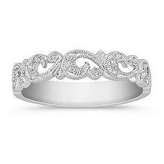 Vintage inspired Diamond Platinum Wedding Band with Pave Setting