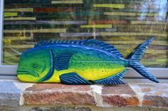 Hand Carved Wooden Fish Mahi Mahi. $180.00, via Etsy.