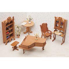 miniature dollhouse furniture woodworking. Unfinished-wood Seven-piece Dollhouse Furniture Kit (Library) By Greenleaf Miniature Woodworking E