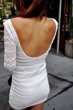 Low back white dress