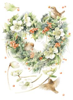 Straight From the Heart                  Wreath, cranberries, birds, flowers, fall, winter, holiday, bouquet